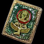 REDUCED Vintage KLITZNER Ceramic Glazed Egyptian Pharaoh & Isis Goddess Brooch