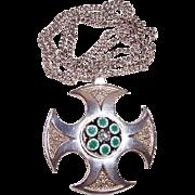 Vintage Paul Ysart Caithness Sterling Silver Maltese Cross Pendant Necklace, Edinburgh Scotlan