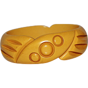 REDUCED Vintage Heavily Carved Bakelite Bangle Bracelet, Butterscotch