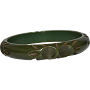 REDUCED Vintage Carved Bakelite Leaf Green Color Bangle Bracelet