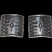Vintage Estate Sterling Silver Anne Farella Earrings, Clips