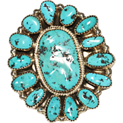REDUCED Vintage Navajo Indian Silver Ray Sterling Turquoise Nugget Cluster Ring, Size 9.5, HUG