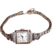 REDUCED Vintage 14K White Gold Ladies Hamilton Diamond Wristwatch, .48 CTW