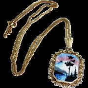REDUCED Vintage Sterling Guilloche Enamel Scenic Pendant Necklace, Norway, Arne Nordlie