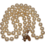 """Vintage Miriam Haskell Faux Pearl Necklace, 24"""""""
