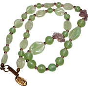 """REDUCED Vintage Miriam Haskell Green & Purple Art Glass Flower Necklace, 15"""""""