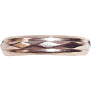 REDUCED Vintage 14K White Gold Unisex Ring Band Signed Art Carved, Size 10