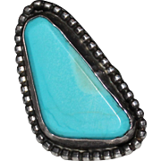 REDUCED Vintage Sterling Native American Indian Turquoise Ring, Large & Chunky, Unisex, Size 1