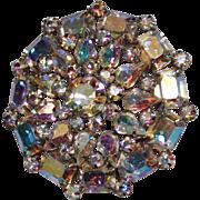 Vintage Aurora Borealis Rhinestone Cluster Brooch