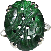 REDUCED Art Deco 10k White Gold Carved Jade Ring, Size 6 3/4, Pierced, Barrasso & Blasi