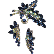 Juliana Delizza & Elster Blue Rhinestone Flower Bow Brooch & Earrings Set