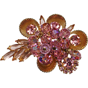 Juliana Delizza & Elster Pink Rhinestone Cha Cha Crystal Gold Trim Brooch