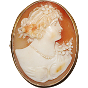 Antique 10k YG Carved Cameo Shell Brooch Pendant,, Lovely Lady, 16.3 Grams