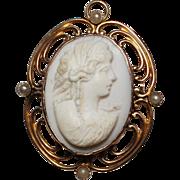 Antique 10k YG Filigree Carved Angel Skin Coral & Seed Pearl Cameo Brooch Pendant, 5.7 Grams