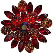 Vintage Judy Lee Molded Glass Red Rhinestone Gold Applique Brooch