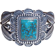REDUCED Kirk Smith Navajo Native American Classic Sterling Silver Kingman Turquoise Cuff ...