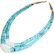 REDUCED Vintage Native American Double Strand Heishi Turquoise Necklace with Sterling Silver,