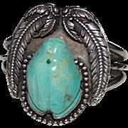 REDUCED Vintage Navajo Indian Mabel Kee Carved Turquoise Frog Fetish 3D Cuff Bracelet, Sterlin