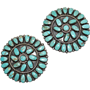 Vintage Larry Moses Begay Navajo Turquoise & Sterling Petit Point Earrings, LMB, Clips