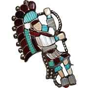 REDUCED Vintage J.A. Calavaza Zuni Indian Inlay Snake Dancer Ring, Size 7, 1970's