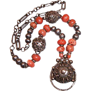Old Ethnic Coral and Silver Berber Moroccan Necklace