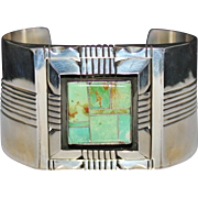 Sterling Navajo D Begay Inlay Green Turquoise Cuff Bracelet 130.4 Grams
