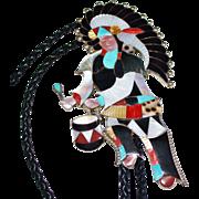 Estate Sterling Silver Jonathan Beyuka Zuni Indian Multi Stone Eagle Dancer Bolo