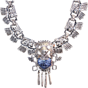 Heavy Sterling 925 Sodalite Aztec Face Necklace Salvador Teran Style 132.8 Grams