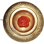 Antique Victorian Gold Filled Carved Coral Rose Pin Brooch