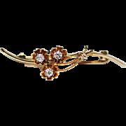 Antique 14k Yellow Gold Rose Cut Diamond Brooch Pin 4.4 Grams Buttercup .30 CTW