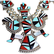 REDUCED Herbert & Esther Cellicion Zuni Inlay Knifewing Kachina Squash Blossom Necklace