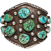 Old Pawn Navajo Sterling Silver Nugget Turquoise Cuff Bracelet HEAVY 143.9 Grams