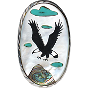 REDUCED HUGE Vintage Zuni Indian Sterling Silver MOP Inlay Eagle Ring Signed R.A.O. Size 7