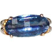 14k Yellow Gold UNIQUE Cut Blue Spinel & Diamond Cocktail Ring, 7.51 CTW Size 6