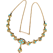 """SOLD Antique Victorian 14k Gold Persian Turquoise Necklace, 16"""", 7.3 Grams"""