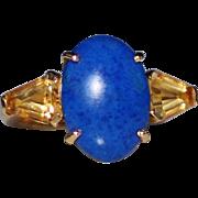 Estate 18k YG Blue Lapis & Citrine Cocktail Ring, Size 5.5, 7.5 Grams