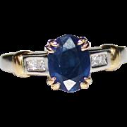 Estate Platinum & 18k Yellow Gold Ceylon Sapphire & Diamond Ring, Size 5.25, 1.89 CTW