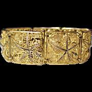 Vintage Alice Caviness Sterling Vermeil Marcasite Filigree Panel Bracelet Germany