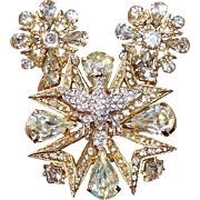 REDUCED Vintage Eisenberg 3-D Eagle Bird Rhinestone Maltese Cross Brooch, Earring Set, Circa .