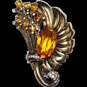 Vintage Sterling Silver Vermeil Ralph DeRosa Amber Rhinestone Fancy Fur Clip
