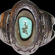 Vintage Navajo Indian Sterling Turquoise Stamped Shadowbox Cuff Bracelet 41.5 Grams