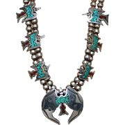 NAVAJO Sterling Signed AJ Peyote Bird Turquoise Coral Chip Inlay Squash Necklace