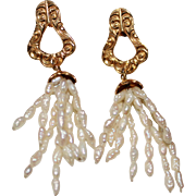 Vintage Victorian Style 14k Yellow Gold Freshwater Rice Pearl Dangle Earrings
