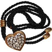 Vintage Yves Saint Laurent YSL Jeweled Rhinestone Heart Silk Cord Belt