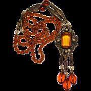 "Art Deco Amber Glass Faux Pearl Czech Glass Necklace, Flapper Length 35"""