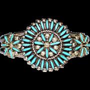 Vintage ZUNI Sampson & Lucille Bowekaty Needle Point Turquoise Cuff Bracelet