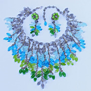 "SOLD Vintage signed.. ""Miriam Haskell"" Glass Necklace & Earrings"