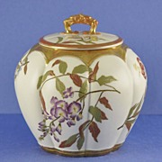 SALE Gorgeous, Circa 1890, English, Melon Shaped, Porcelain, Royal Worcester Biscuit Barrel /
