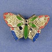 SALE Unusual, Vintage, Jeweled & Enameled, Butterfly Shaped, Perfume Pin / Brooch