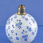 SALE Lovely! Vintage, Round Shaped, Crystal Atomizer Perfume Bottle with Hand Painted Daisies